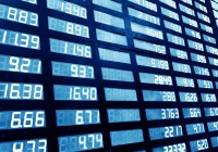 stock or currency exchange market displau screen board